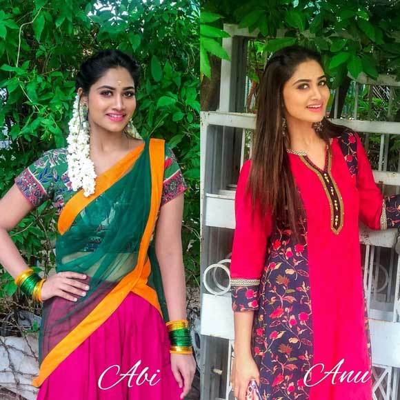 Shivani as Anu and Abi in Rettai Roja TV Series