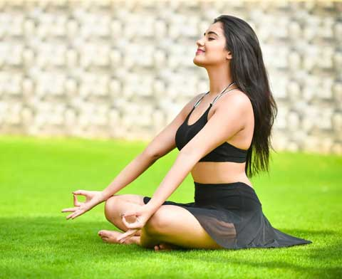 Malavika Sharma While Doing Yoga