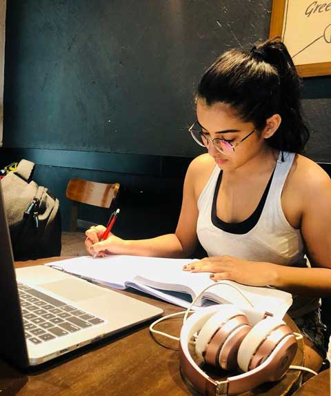 Malavika Sharma While preparing for Her Law Exam