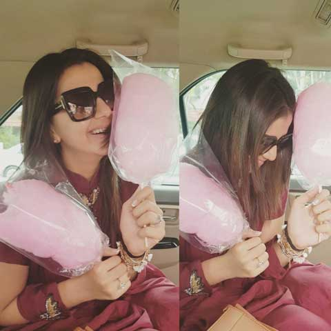 Nikki Galrani With Cotton Candy